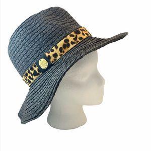 VINCE CAMUTO Black Pony Hair Trim Fedora Hat